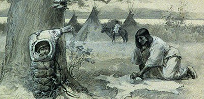 Indian mother and baby, wigwam. Drawing by William Allen Rogers, ca. 1888