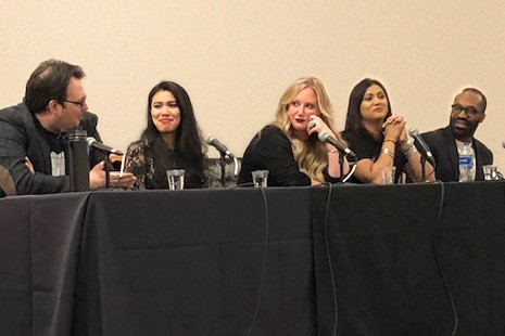 (From left) Brandon Sanderson, Roshani Chokshi, Leigh Bardugo, Sabaa Tahir, and Tochi Onyebuchi