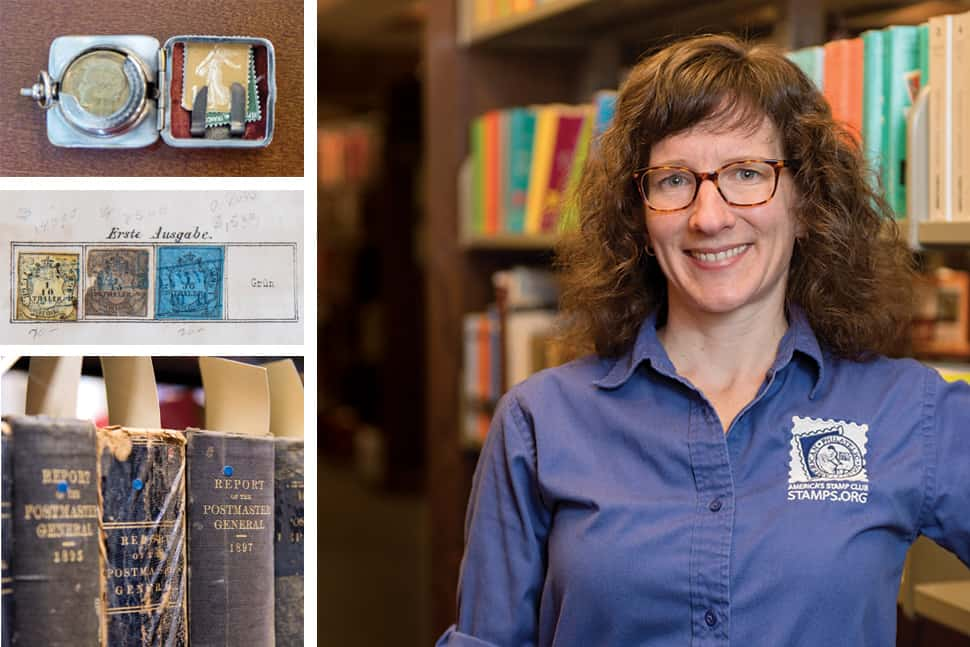 Librarian Tara Murray (right) with Victorian-era stamp cases, stamps of the Duchy of Oldenburg from an 1863 album, and books from the American Philatelic Research Library collection. (Photos: Abby Drey)
