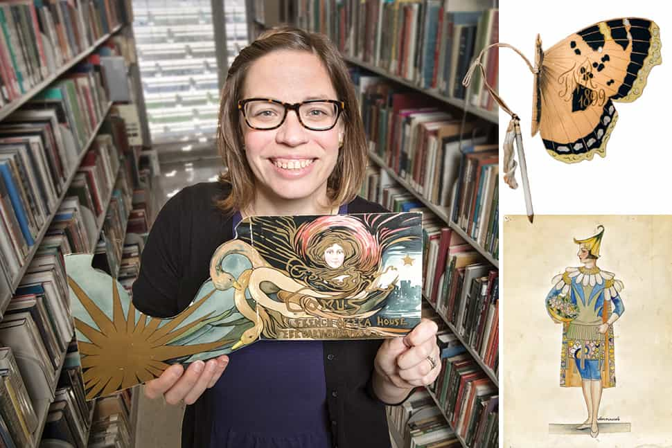 Left: Christina Bryant holds an invitation from the Mistick Krewe of Comus (1900); top left: a dance card issued by the Twelfth Night Revelers (1899); bottom left: a costume design from the Léda Hincks Plauché Collection. (Photos: Susan Poag (Bryant, butterfly); New Orleans Public Library (costumes))
