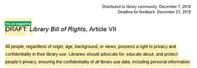 Draft of Article VII of Library Bill of Rights