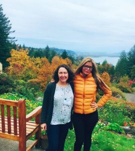 ALA President Loida Garcia-Febo, right, with librarian and AL columnist Meredith Farkas at the ACRL-Oregon/Washington joint conference outside of Portland, Oregon.