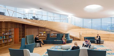 Oodi's third-floor reading room features sloped edges—like the prow of a boat