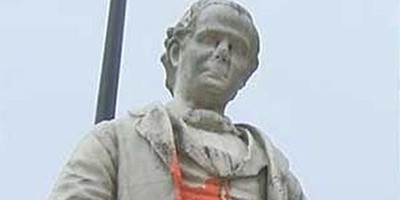 Vandalized statue of George D. Prentice