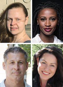 "Clockwise from top left: Juliet Grames, Wayétu Moore, Annie Ward, Chris Pavone. <span class=""credit"">Photos: Katherine Grames (Grames); Yoni Levy (Moore); Sam McIntosh (Pavone)</span>"