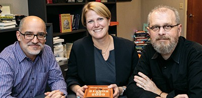 Fernando Acosta-Rodríguez, left, Princeton's librarian for Latin American, Iberian and Latino studies; Christie Henry, center, director of Princeton University Press; and João Biehl, right, Susan Dod Brown professor of anthropology at Princeton and codirector of Brazil LAB