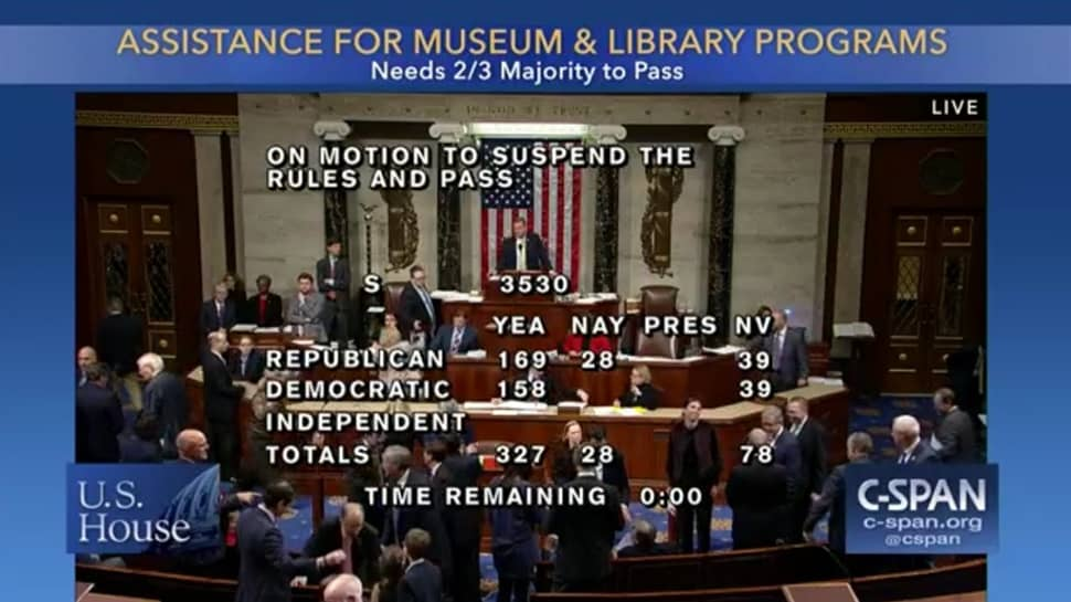 Vote tally in House on S. 3530, Museum and Library Services Act, December 19