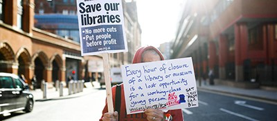 Protesters outside the British Library in London march against government cuts to public libraries. Photo by Henry Nicholls / Reuters