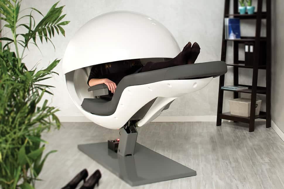 MetroNaps EnergyPod reclines and plays soothing sounds for 20-minute power naps.