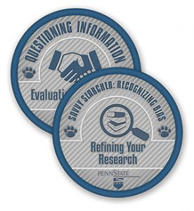 "Microcredential badges for ""questioning information"" and ""savvy searcher: recognizing bias"""
