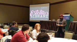 Estelita's Library founder Edwin Lindo speaks at the ALA Midwinter Meeting & Exhibits in Seattle.