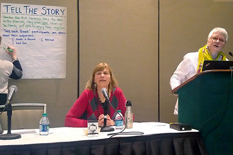 "Betha Gutsche (seated) and Jennifer Peterson at the ""Return to the Real"" session, ALA Midwinter Meeting, Seattle."