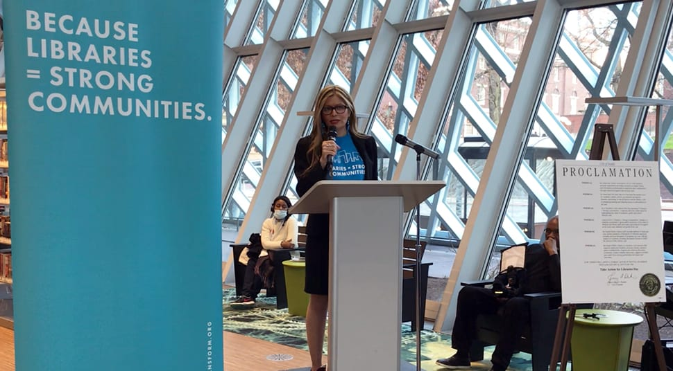 ALA President Loida Garcia-Febo at the Rally for Libraries, Seattle Public Library.