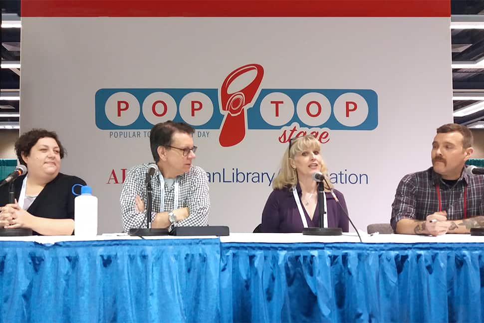 Podcast panel at the PopTop Stage, ALA 2019 Midwinter Meeting, Seattle. From left to right: Gwen Glazer, Joseph Janes, Adriane Herrick Juarez, Phil Morehart.