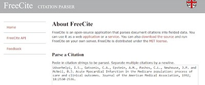 FreeCite, a citation tool by Brown University Library