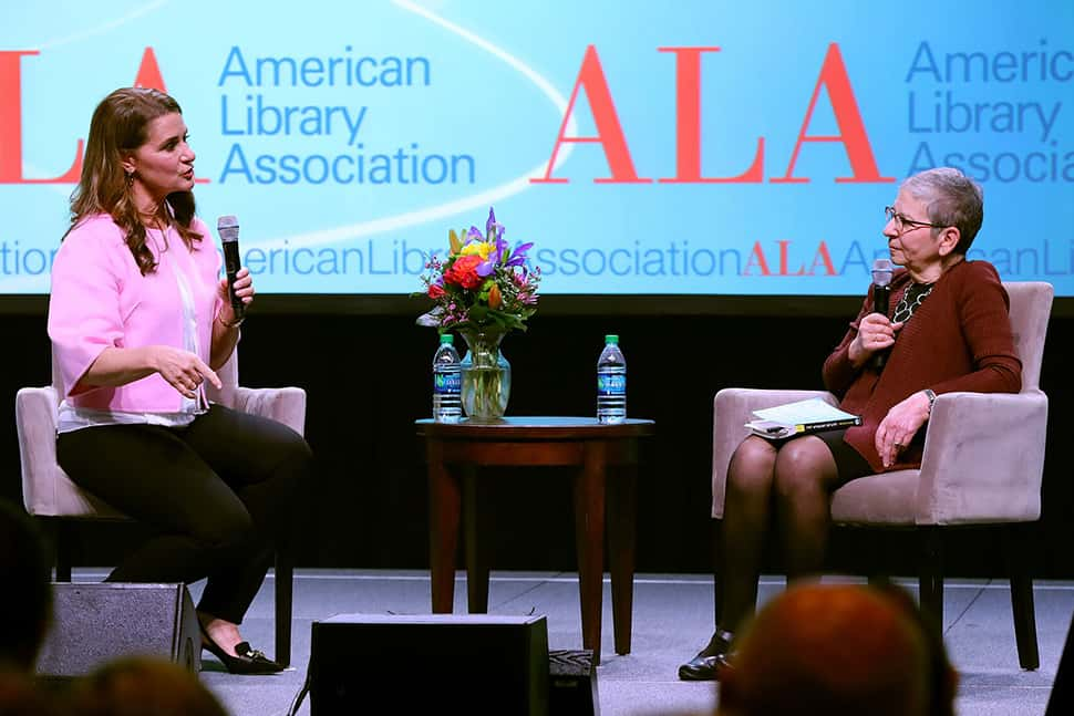 Melinda Gates and Nancy Pearl at the ALA Midwinter Meeting in Seattle.