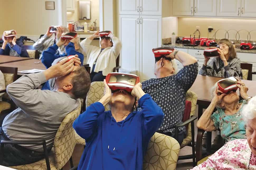 Residents of The Highlands at the Moorings of Arlington Heights assisted-living facility in Illinois enjoy a ­virtual tour of Monticello.