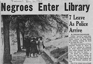 Newspaper clippings from Jim Crow era about library segregation