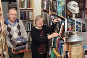 Clockwise from left: AFU Director Anders Liljegren and librarian Ingrid Collberg; one of several alien models in the AFU archive; the AFU library walls, decorated with UFO book covers; UFO modeled after photos taken by US contactee George Adamski in the 1950s; The Supernatural Magazine, published in Dublin in 1809. (Photos: Clas Svahn)