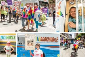 Counterclockwise from top right: Keith Lu, bookmobile driver and library tech, waves a rainbow flag from the SFPL bookmobile; collections management assistant Alan Wong (center) and collections librarian Erin Dubois (right) strike a pose while waiting for the parade to begin; adult services librarian and bookmobile librarian Connie Porciuncula wears a pink wig in front of the TechMobile; Annemarie Dompe, student at the Graduate School of Library and Information Science at the University of Illinois at Urbana–Champaign, holds a sign for Radclyffe Hall's 1928 book The Well of Loneliness in front of the bookmobile; SFPL city librarian Luis Herrera rides a balloon-covered bike, and SFPL deputy city librarian Michael Lambert rides a skateboard ahead of SFPL's marchers. (Photos: San Francisco Public Library)