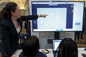 Victoria Van Hyning guides local students in transcribing letters from Library of Congress collections during the Letters to Lincoln crowdsourcing kickoff event on November 19, 2018. Photo: Shawn Miller