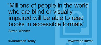 """Millions of people in the world who are blind or visually impaired will be able to read books in accessible formats."" Stevie Wonder"