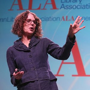 "Robin DiAngelo at the President's Program at the 2019 ALA Midwinter Meeting. <span class=""credit"">Photo: Cognotes</span>"
