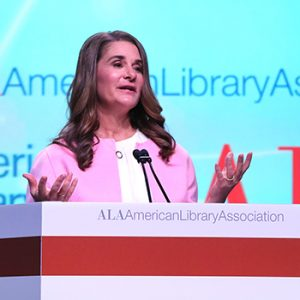 "Melinda Gates at the Opening Session of the 2019 ALA Midwinter Meeting. <span class=""credit"">Photo: Cognotes</span>"