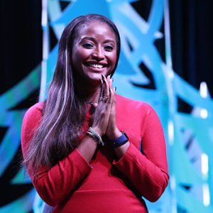 "Isha Sesay at the Closing Session of the 2019 ALA Midwinter Meeting. <span class=""credit"">Photo: Cognotes</span>"