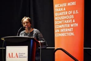 Former FCC Commissioner Mignon Clyburn speaks at the ALA Washington Fly-In event on February 25.