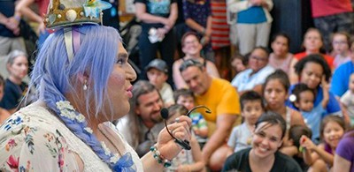 Matthew Maisano, performing as Balena Canto, reads books and leads ocean-themed crafts as the Anne Arundel County (Md.) Public Library in Glen Burnie hosts the system's first Drag Queen Storytime in 2018