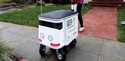Mountain View (Calif.) Library's BookBot makes a pick-up