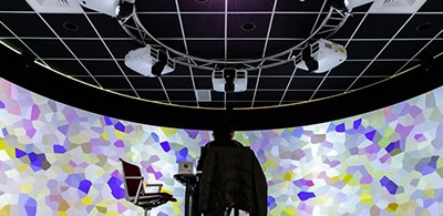 The 360-degree immersive visualization room at the Digital Scholarship Lab in MSU Main Library. Photo by CJ Weiss