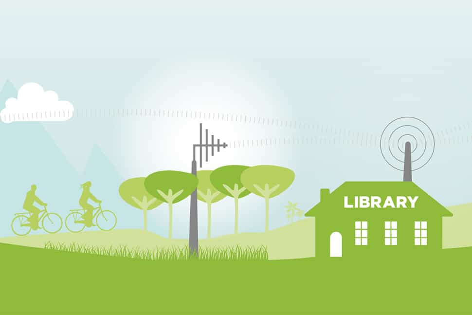 Illustration of library in field receiving signals from towers (Illustration: © Auguste Lange/Adobe Stock)