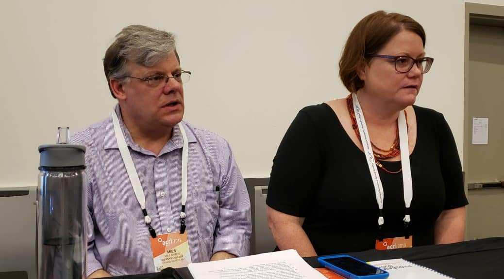 Mies Martin (left) and Beth Martin present their findings at the Association of College and Research Libraries Conference in Cleveland on April 12.