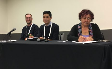 From left: Cody Fullerton, Desmond Wong, and Deborah Lee share their research on library support for indigenous scholarship.