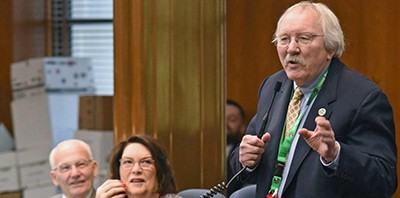 Rep. Bob Martinson (R-Bismarck) urges House members to vote on the Theodore Roosevelt presidential library. Photo by Tom Stromme