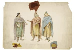 Costume sketches and swatches for a 19th-century production of King Lear from the Folger Shakespeare Library. (Photo: Folger Shakespeare Library)