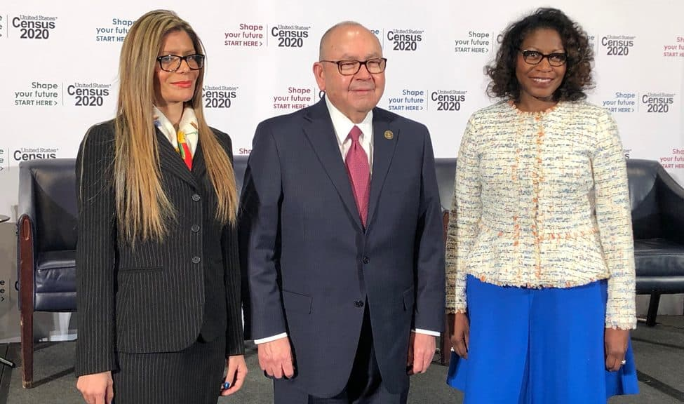 From left: ALA President Loida Garcia-Febo; Chickasaw Nation Governor Bill Anoatubby; and Annie E. Casey Foundation President and CEO Lisa Hamilton at the US Census Bureau's Census Day press conference at the National Press Club in Washington, D.C., April 1, 2019.