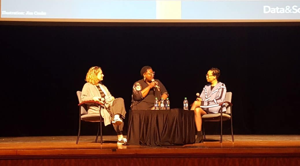 Tracie D. Hall (center), director of the culture program at the Joyce Foundation, moderates a discussion between danah boyd (left) and Elaine Westbrooks. Photo: Carrie Smith/American Libraries
