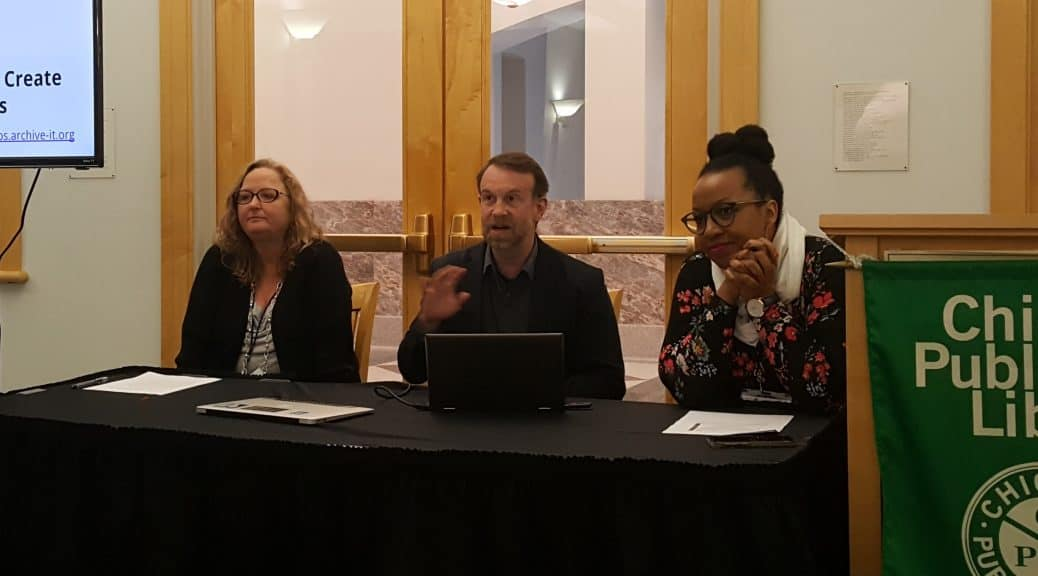 From left: Melinda Shelton, Jefferson Bailey, and Makiba Foster discuss the Community Webs archiving program at DPLAfest 2019 in Chicago. Photo: Carrie Smith/American Libraries