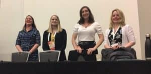 From left: Amy Fyn, Amanda Foster-Kaufman, Christina Heady, and Allison Hosier at the Association of College and Research Libraries Conference in Cleveland