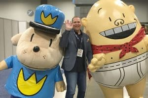 Dav Pilkey (center) with his Dog Man and Captain Underpants characters