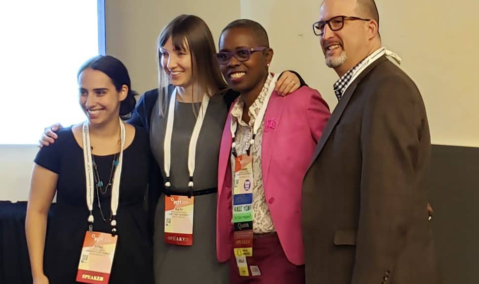 From left: April Hines, Katherine Boss, Chimene E. Tucker, and Jeffrey A. Knapp discuss information literacy and journalism at the Association of College and Research Libraries Conference in Cleveland on April 12.