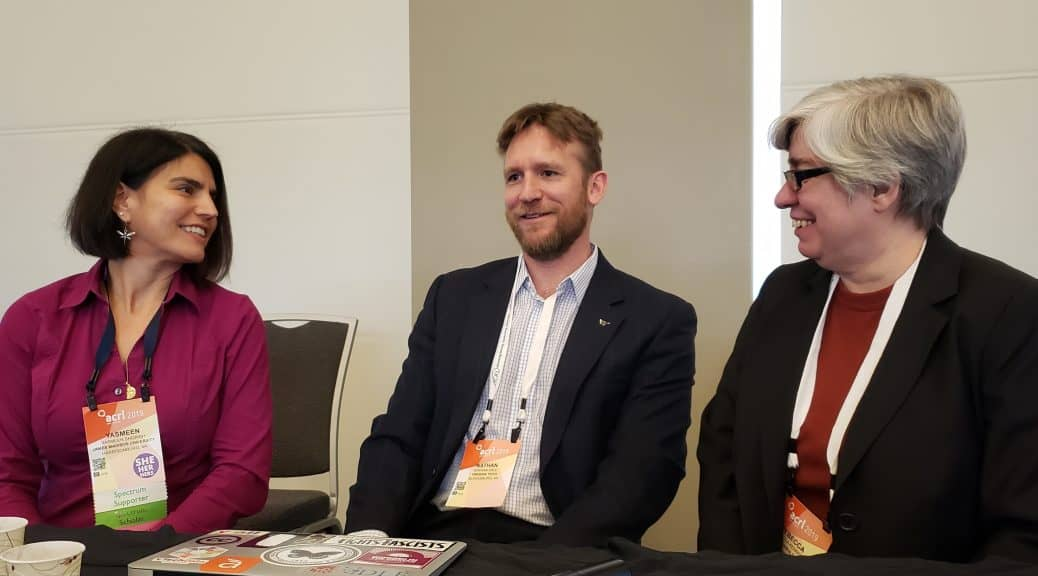 From left: Yasmeen Shorish, Nathan Hall, and Rebecca Kennison present the new ACRL research agenda.
