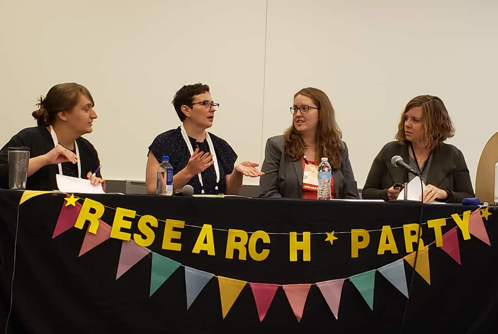 From left: Emily L. Mross, Jennifer A. Hunter, Amy Snyder, and Christina Riehman-Murphy explain research parties at the 2019 Association of College and Research Libraries Conference in Cleveland on April 12.