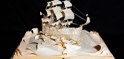 Emma Taylor ship sculpture from discarded book