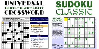 Crossword puzzle and Sudoku