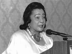 Coretta Scott King speaking at the CSK Book Awards Breakfast at the 1993 ALA Annual Conference in New Orleans.