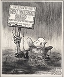 """Welcome to the Great Watergate Swamp,"" original published art by Ollie Harrington, May 2, 1973"